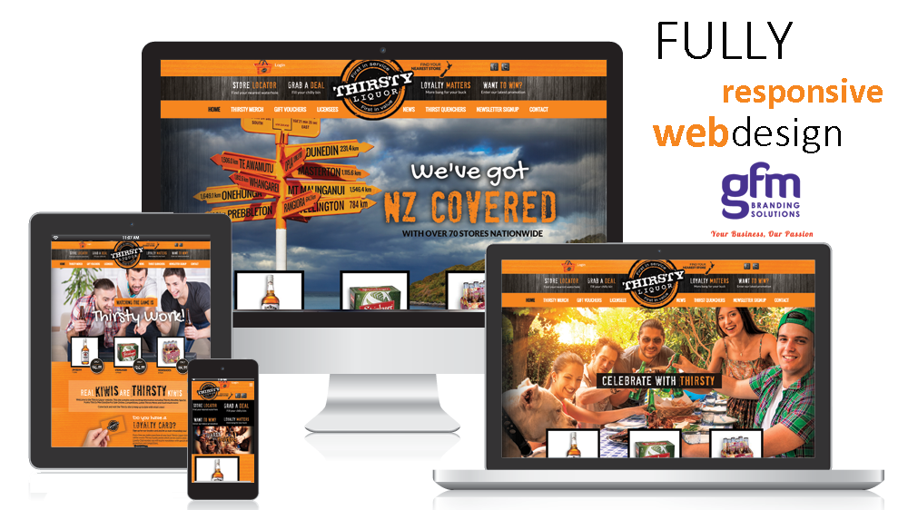 thirsty liquor fully responsive website design by gfm branding solutions on multiple screens