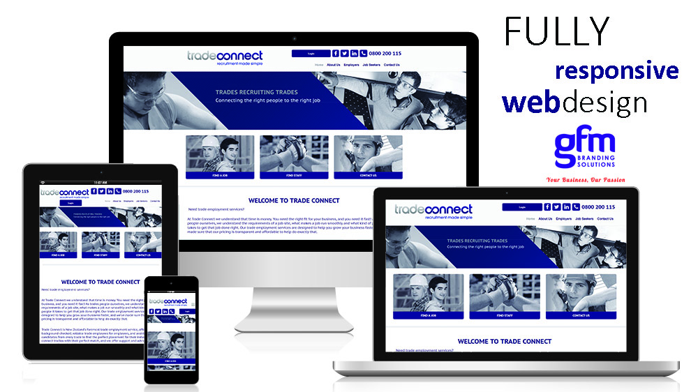 trade connect fully responsive website design on multiple screens