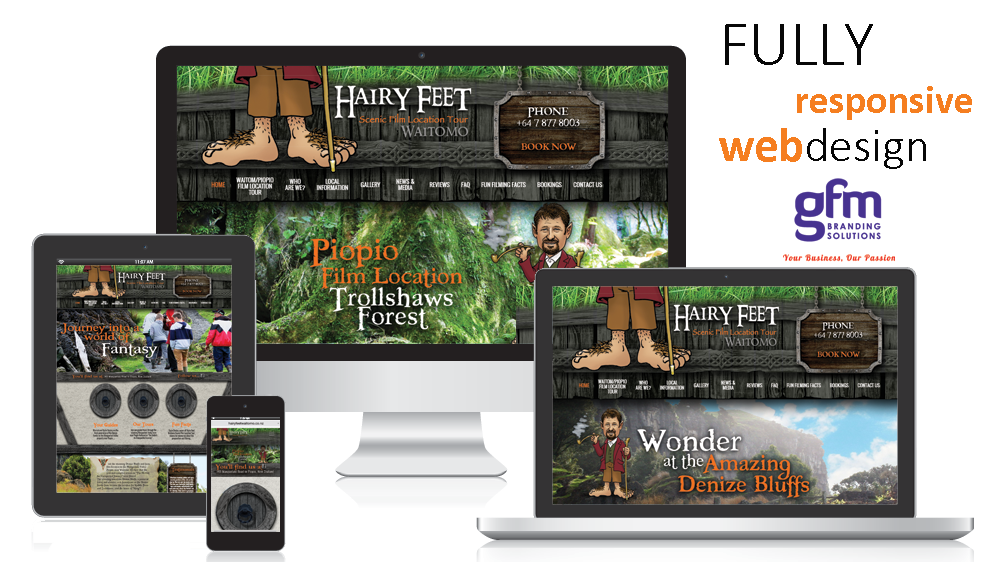 hairy feet waitomo fully responsive website design on multiple screens