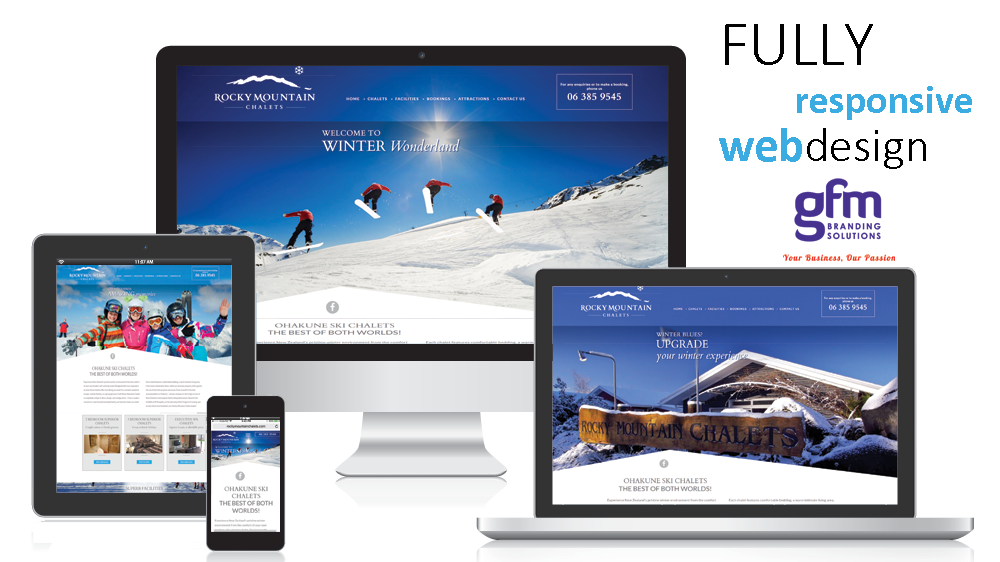 rocky mountain chalets fully responsive website design on multiple screens