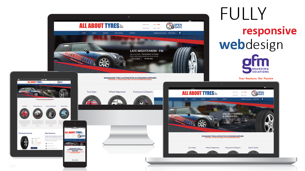 all about tyres fully responsive website design on multiple screens