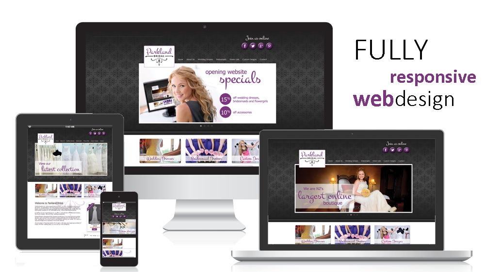 parkland bridal fully responsive website design on multiple screens