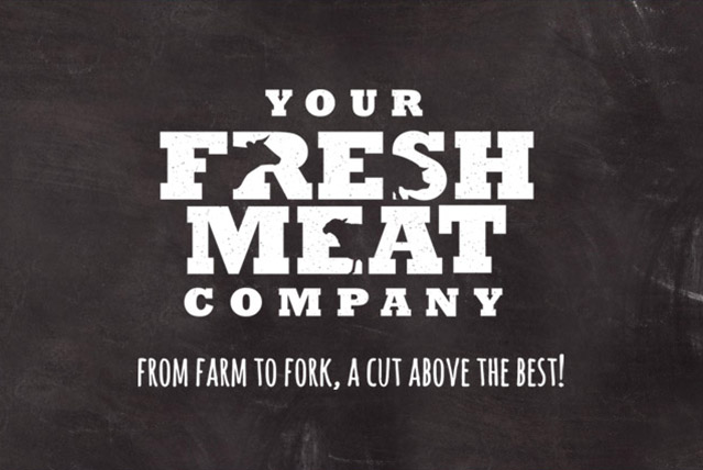 your fresh meat company from farm to fork a cut above the best logo design by GFM