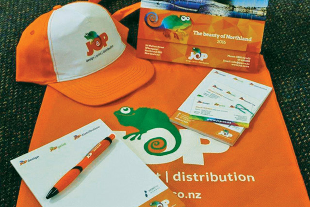 JOP orange cap, calendar, pen, bag, notepad and business cards