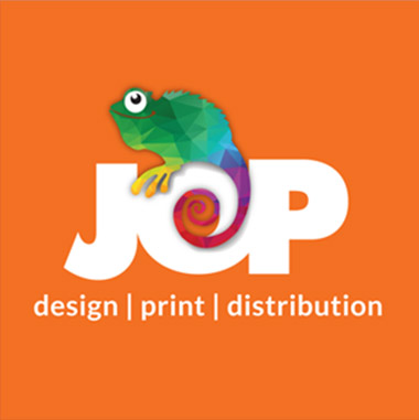 JOP design print distribution logo design. Ollie the Chameleon
