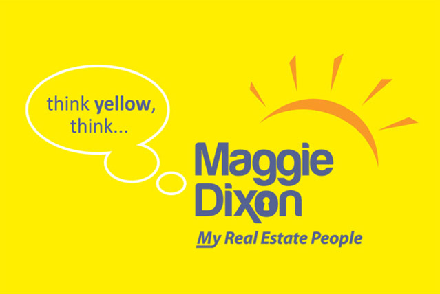 think yellow, think Maggie Dixon my real estate people logo