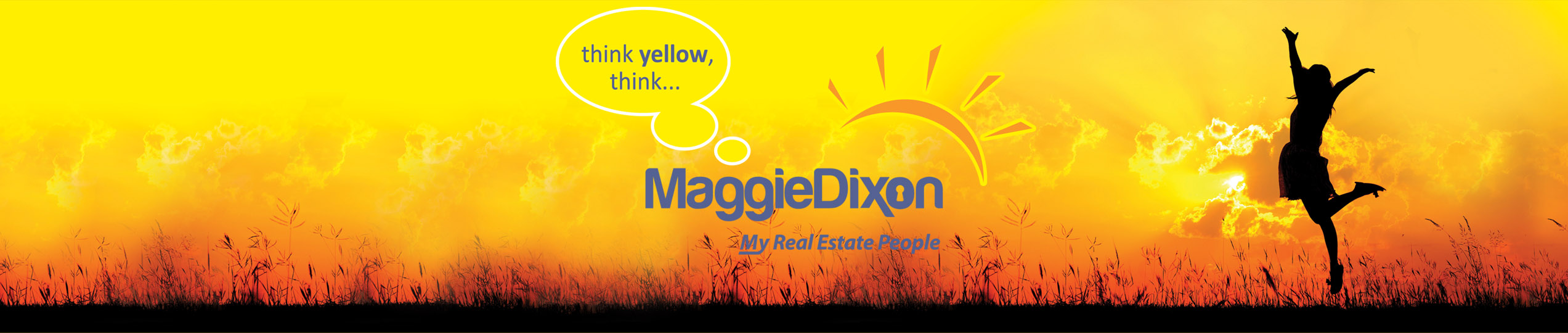 think yellow, think maggie dixon my real estate people. Girl's silhouette jumping as the sun sets