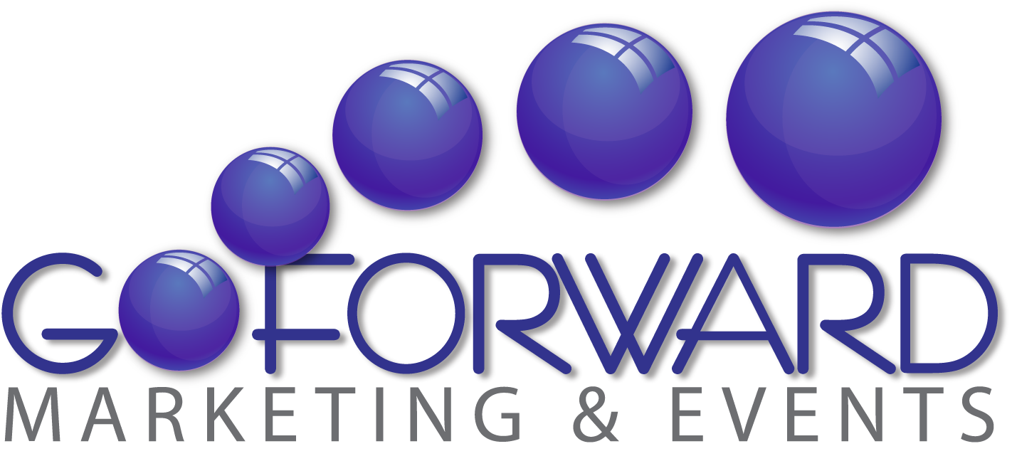 Go forward marketing and event logo rebrand with 3D purple bubbles