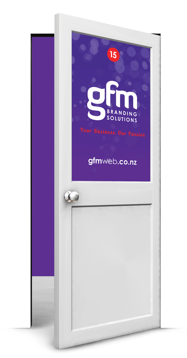 GFM branding solutions your business our passion gfmweb.co.nz open purple door