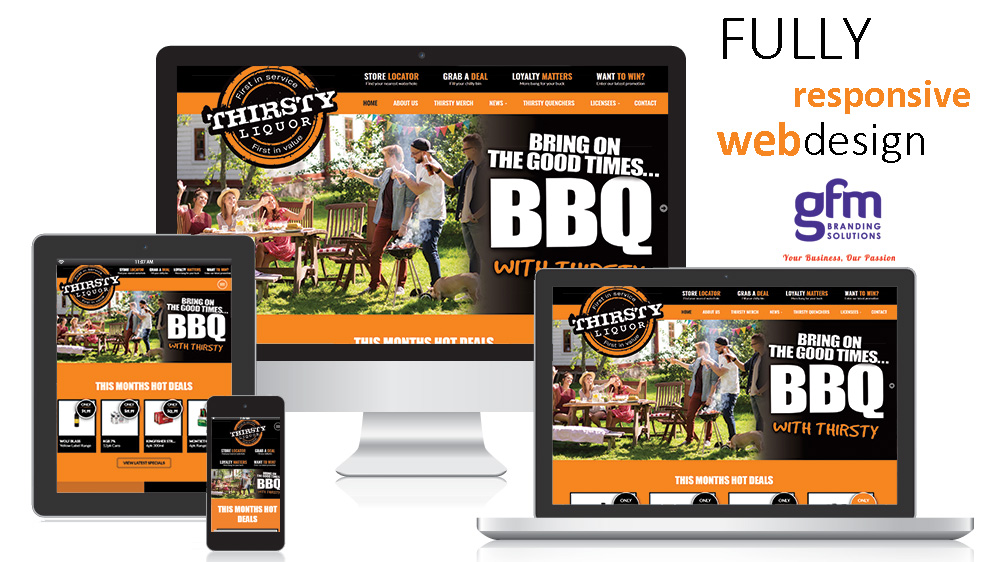Thirsty liquor fully responsive website design on multiple screens