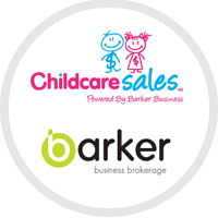 Childcare sales powered by barker business logo and Barker business brokerage logo